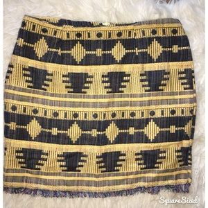 Romwe native Aztec tweed mini skirt
